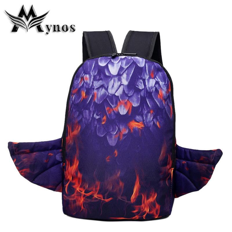 MYNOS New Quality Nylon Backpacks Fashion Wing School Bags For Teenager Large Laptop Backpack Vintage Travel Bags Sac A Dos <br>