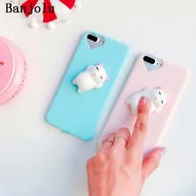 Banjolu Funny Toys 3D Sleeping Cat Seal Sea Doll Phone Case for iPhone 6 6s 7 8 Plus 5s SE Claw Cat Paw Soft TPU Back Case Coque