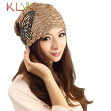 Stylish 2015 New designs Winter 1Pcs Women Gold Lace Butterfly Hat Adjustable Skullies Beanies Turban Cap for girls nice gifts