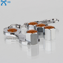 For Leopard Grain Logo Car Styling Air Cover Rims Stainless Steel Wheel Tire Valve Stems Caps Wrench Keychain For Toyota Dodge