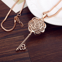 MOONROCY Rose Gold Color Free Shipping Fashion Crystal Sweater key Necklace long Chain Jewelry Rose flower gift For women