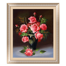 40*46cm 5D Diamond Painting Diamond Embroidery Home Decoration Rose Round Stone Cross Mosaic Rose Flower Home Decor