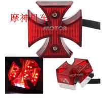 General Motorcycle Choppers Dirt Bike Maltese Cross LED Rear License Plate Tail Light