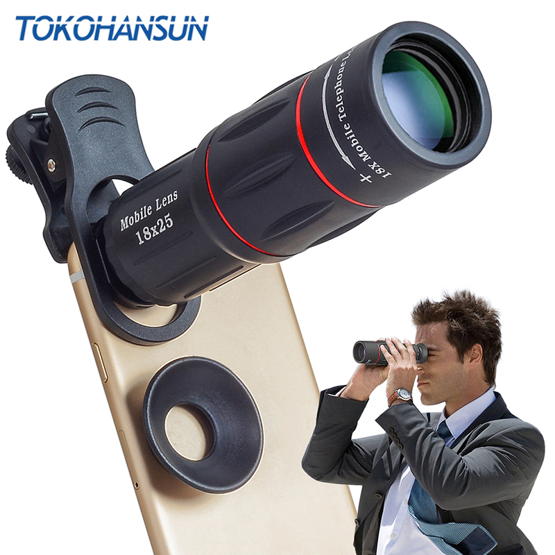 TOKOHANSUN Universal 18 Monocular Zoom HD Optical Cell Phone Lens Observing Survey 18X telephoto lens with tripod for Smartphone title=