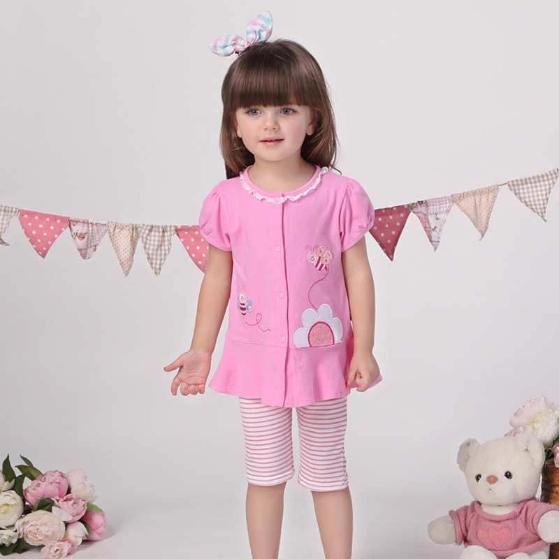 2017 Summer New Meters  Kids Set Cotton Embroidered Suit for Girls Child Baby Two Set Top+Pant Children Summer Clothes V-0017<br><br>Aliexpress