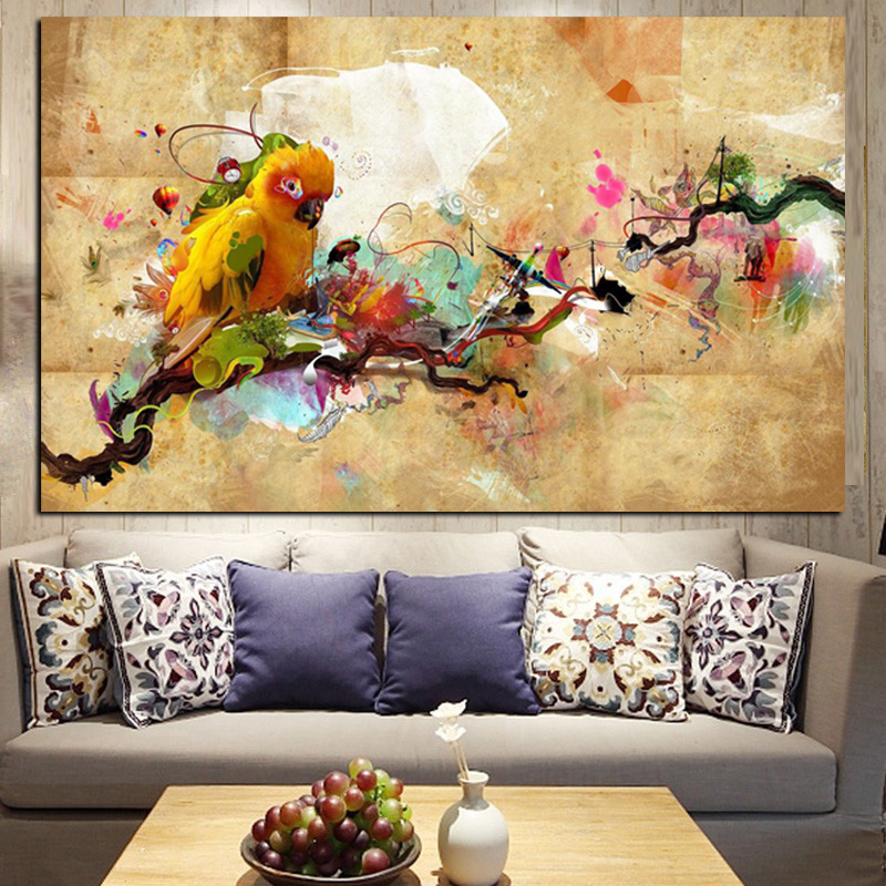 YWDECOR HD Print Artistic Paint Parrot Bird Oil Painting on Canvas Modern Abstract Wall Painting For Living Room Cuadros Decor (3)