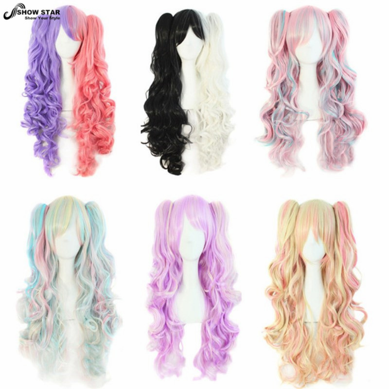 Long Lolita Wig Ponytails Multicolor Heat Resistant Wavy Synthetic Wigs Curly Lolita Anime Cosplay Wig 2 Clips Halloween Wig<br><br>Aliexpress