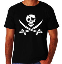 Pirate Skull Crossbone Swords Jolly Rodger New Mens Cool Novelty Black T-Shirt Summer Short Sleeves New Fashion T Shirt(China)
