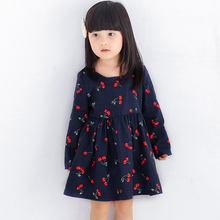 Kids Cute Cartoon Cherry Print Dress Girls Long Sleeve Party Dress Children Soft Cotton Spring/Summer Princess Dress