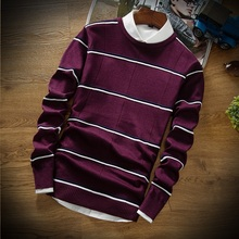 BKTrend 2017 New Arrival Men Sweaters Brand Clothing Fashion Casual Pullovers Men Long Sleeve Striped Mens Christmas Sweater