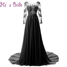 2018 Fashion Sexy Evening Dress The Bride Banquet Elegant Long Sleeved Lace Appliques Cover Back Prom Party Gowns Robe De Soiree(China)