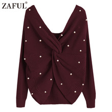 ZAFUL Pearl Beading V Neck Twist Sweater Sweet Burgundy Women Pullovers Knit Jumper Long Sleeve Casual Solid Sweaters pull femme(China)