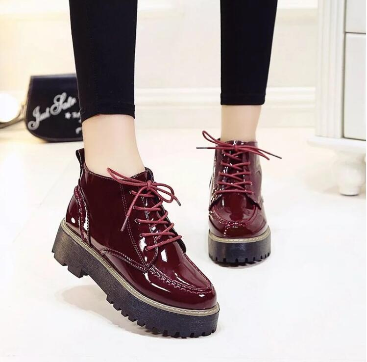 Creeper 2016 Women Ankle Boots Patent Leather Platform Shoes Woman Casual Flats Fashion Lace-Up Women Shoes<br><br>Aliexpress