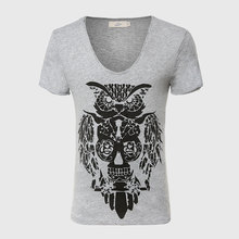Cool Owl Print Men T Shirt Designer Deep V Neck T Shirts Boys Graphic Muscle Tee Tops Cotton Fabric Sexy Novelty Fashion Style