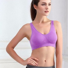 Women Seamless Wire Free Padded Crop Top Fitness Vest Tank Comfort Yoga Sport Bra(China)