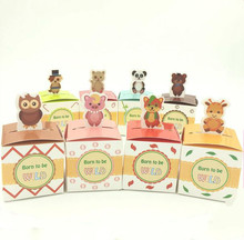 2016 New 30pcs Lovely Animal Baby Shower Candy Boxes Baby Full Moon Birth Announcement Birthday party favors Free Shipping