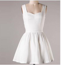 2015 new arrival women white dress sleeveless casual autumn soft nice holiday sexy club Big Size dress slim square neckL #E355