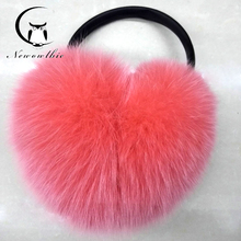 Winter & Spring & Autumn Women Warm Fur Earmuffs Girl's Earlap Ultralarge real fox fur Hair Earflap Ladie's Plush Ear Muff(China)