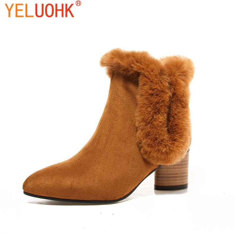 34-43 Women Winter Boots Plush Warm Ankle Boots For Women Fashion 2017 Winter Women Boots Big Size<br>