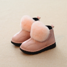 2016 Girls Leather Snow Boots shoes Child fashion rabbit fur boots Kids Plus Cotton-padded Rhinestone Bow Short-Leg Boots Winter