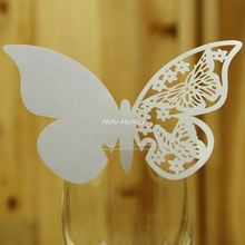 High Quality 50pc paper Butterfly mariage Wedding cards Table Paper Wine Glass Cup Card Escort Name Card