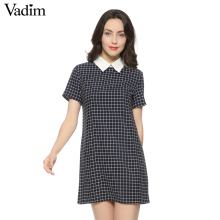 Women casual plaid dresses swallow check Turn-down collar short sleeve straight dress white collor Work Wear Female Dress QZ735(China)