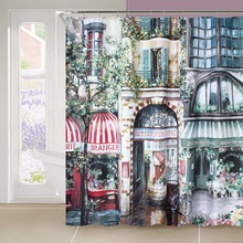 Fabric polyester waterproof thicken oil painting street landscape shower curtains bathroom curtains