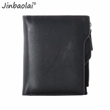 JINBAOLAI 1Pcs  Men Wallets Faux Leather Bifold Wallet ID Credit Card Holder Coin Purse Pockets Clutch with Zipper Wallets  sale
