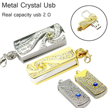 real capacity Metal Crystal gold rotary Key Chain USB 2.0 USB Flash Drive 64GB 8GB 16GB 32GB Memory Stick disk on key Pen drives