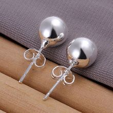 Free shipping lowest price wholesale for women's silver plated earrings 925 fashion Silver jewelry 8mm ball stud Earrings SE073