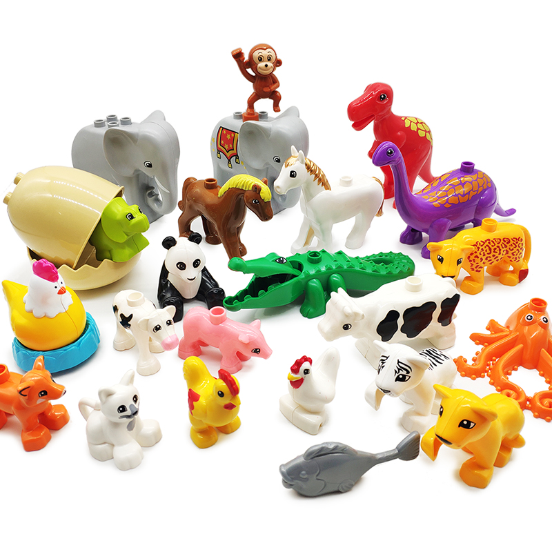 Big size Model Building Blocks accessory children DIY Toys Compatible with Duplo Animals set panda cow giraffe horse Bricks gift