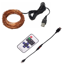 Dimmable remote control 5V 10M 33FT 100 led Night Light Fairy outdoor Lamps USB Operated Decoration Copper Wire String