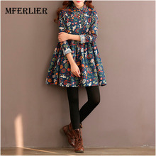 Autumn Dress Women Flower A Line Dress Women Long Sleeve High Waist Turn Down Collar Cotton Dress Size M-2XL
