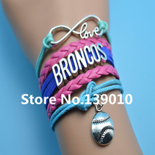 Infinity Love Broncos Baseball AFC Team Bracelets Red Blue Grean Leather Rope Wrap Customize NCAA Sports Wristband Cuff Bangles(China)