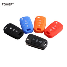 FGHGF 3Buttons Silicone Key Cover For Hyundai i20 i30 i35 iX20 iX35 ix30 Solaris Verna Folding Key Silicone Key Case with Logo