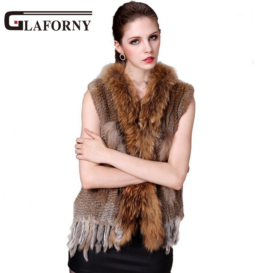 Glaforny 2018 Hot Sale Retail/wholesale Gilet/waistcoat Fashion Raccoon Fur Collar Women Rabbit Fur Vest in Stock Free Shipping