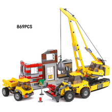New city Engineering team demolition site building block worker figures truck Forklift bricks 60076 educational toys for kids(China)