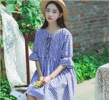 Office Dress Special Offer Sale Cute Free Shipping Woman Summer 2017 Japanese Art School Wind Waist Cotton Plaid Sleeved Dress(China)