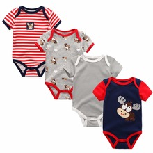 4pieces/lot Baby Boy Clothes Summer 2017 Baby Bodysuits Newborn Cotton Short Sleeves Cheap Unisx Infant Clothing