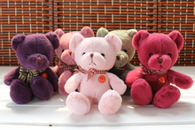 about 25 cm lovely teddy bear plush toys one lot/ 5 pieces toys ,Christmas gift w3098(China)