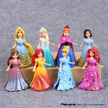 Princess Toys Elsa Anna Ariel Snow White Aurora Belle Cinderella PVC Figure Toys 8pcs/set DSFG302(China)