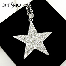 Silver plated Pentagram star  pendant long necklaces & pendants necklace women men's costume jewellery  accessories nke-k26