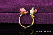 Les Nereides Blue Tit with flower and bud women adjustable ring size can be changed Free shipping