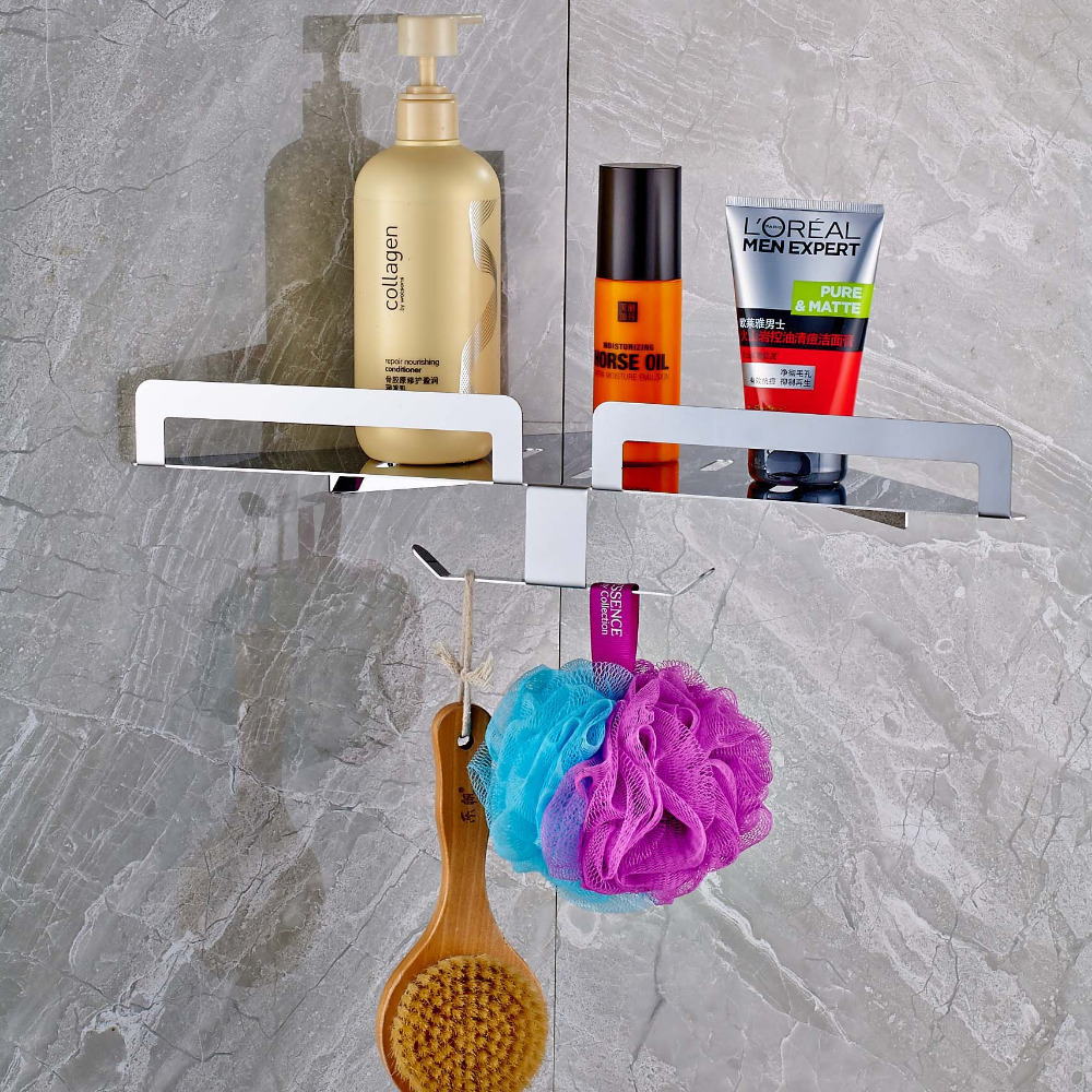 Fashion Wall Mounted Polish Chrome Triangular Shape Bathroom Shelf With Hook Single Tier Commodity Shelf<br>