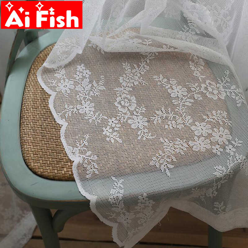 Customized Korean Pastoral White Lace Gauze Window American Village Wave Lace Tulle Curtain For Living Room Balcony MY103-40