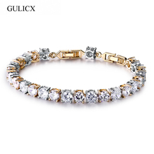 Buy GULICX Fashion Gold-color CZ Imitation Crystal Jewelry Clear Round Cubic Zircon Stone Chain Link Bracelets Women for $5.01 in AliExpress store