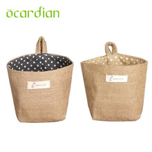 Prevalent Hotsale New Polka Dot Small Storage Sack Cloth Hanging Non Woven Storage Basket drop shipping Aug22(China)