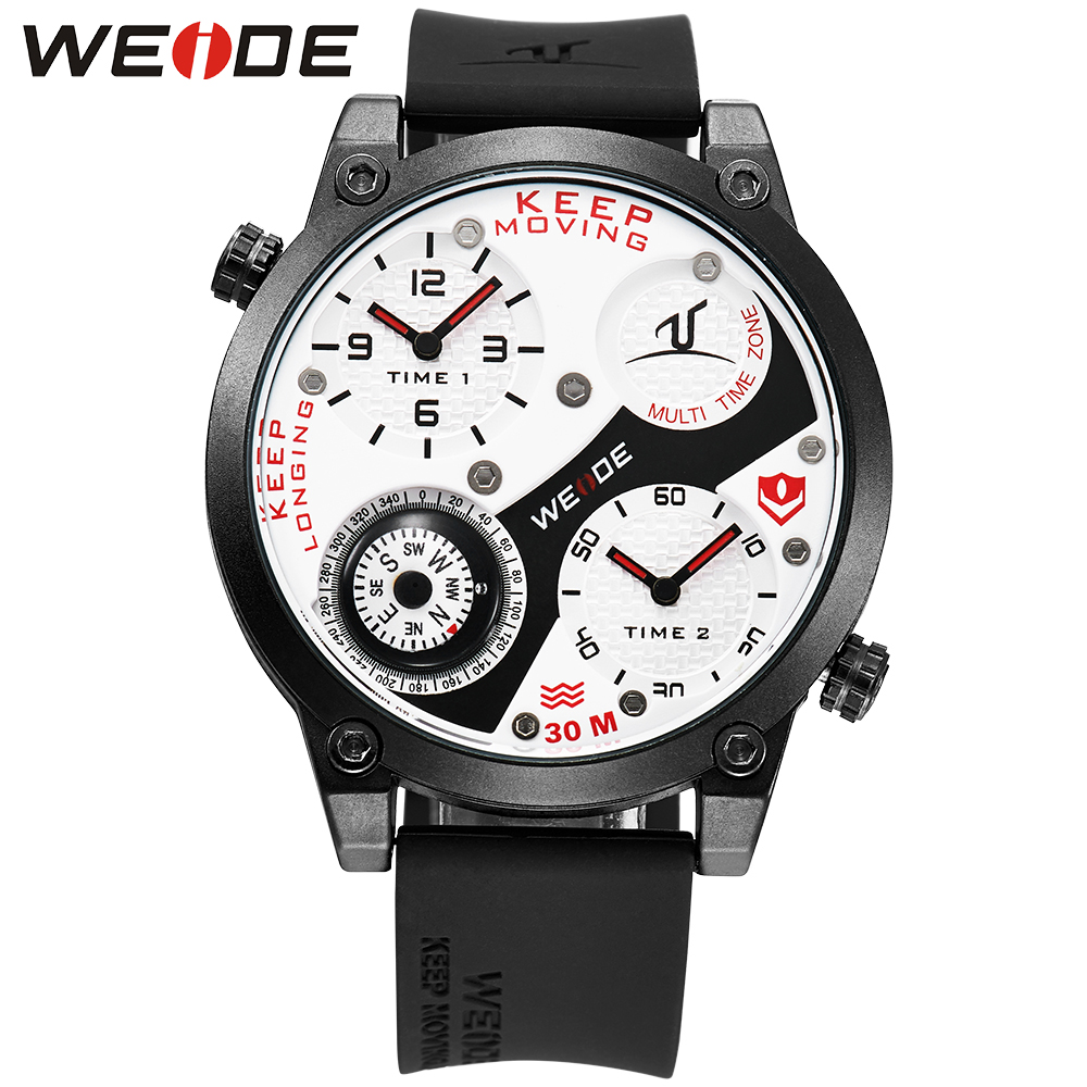 WEIDE Men Sport Watches Compass Japan Movement Analog Dual Time Zone Silicone Band Buckle Hardlex White Dial Men Quartz Watch<br>