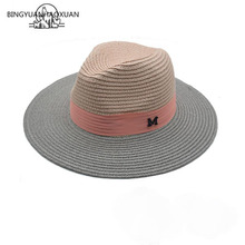 2016 Network star with alphabet gray pink hat female summer sun hat free shipping stitching