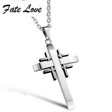 Fashion Cross  Men's Stainless Steel Cross Pendant Necklace Forever Faith Special Gift for Man and Woman